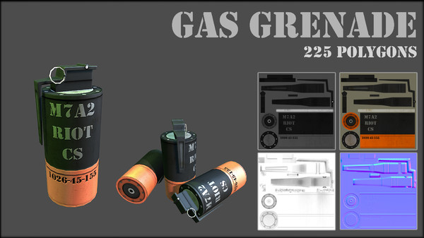3d gas grenade - Grenade... by Game geek