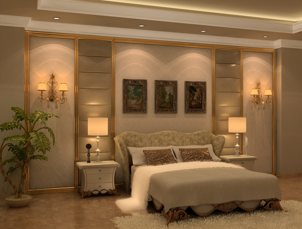 neo classic bedroom design 3d model. Black Bedroom Furniture Sets. Home Design Ideas
