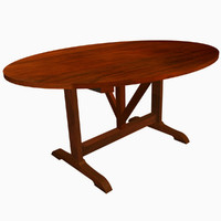french oval table 3d model