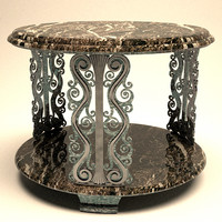 Ornate Round Table with Wrought Iron