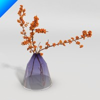 3ds max glass vase flower