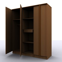 3 door wardrobe 3ds