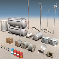 3d model land rig construction components