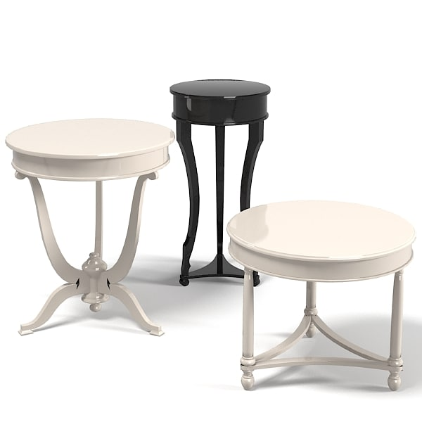 Elledue round pedestal coffee side lamp table set tradiitonal classic.jpg