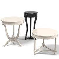 Elledue round pedestal coffee side lamp table set