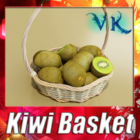 Kiwi + Basket + High Resolution Textures