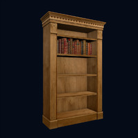 Classical Bookcase & Books, Low Poly