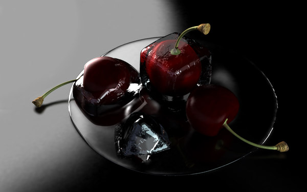 cherry ice 1 3d - Cherry in Ice(1)... by vortex_3dm