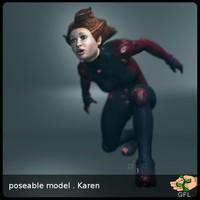 free human woman girl 3d model