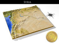 Syria, High resolution 3D relief maps