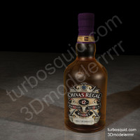 3d model photorealistic chivas regal whisky bottle