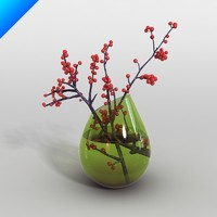3d glass vase flower