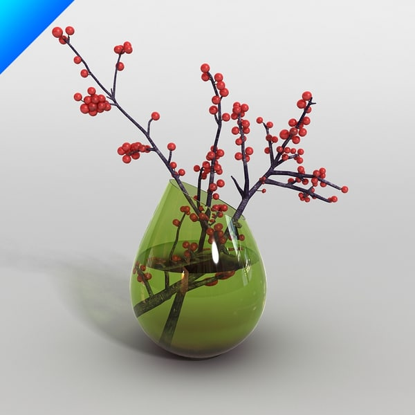 3d glass vase flower - glass vase with flower 01... by 2in1studio