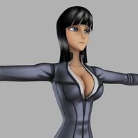 3d character nico robin anime