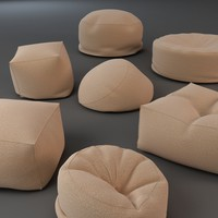 bean bag chairs 3d model