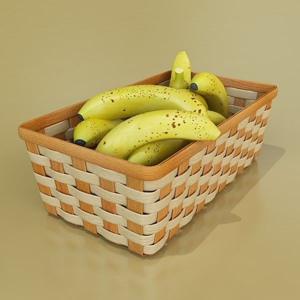 fruit basket 09 bananas 3d 3ds - Banana + Fruit basket 09... by VKModels