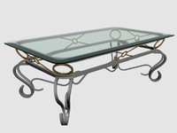 glass metal coffee table 3d model