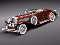 3d model duesenberg sj roadster luxury