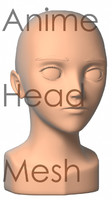 3d anime head mesh model