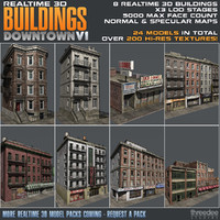 Realtime 3D Buildings Downtown V1 - 8 Pack
