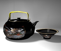 Oriental Teapot Lo Poly Set