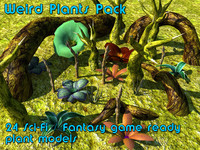 weird plants pack 3d obj