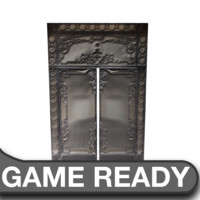 victorian glass metal door 3d model