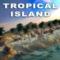 3d terrain island tropical model