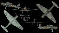 3d rare blackburn b-25 roc model