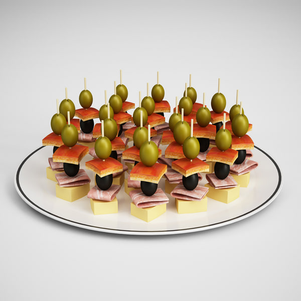 3d appetizers plate 20 model - CGAxis Appetizers On Plate 20... by cgaxis