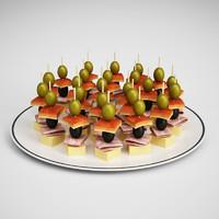 3d appetizers plate 20 model