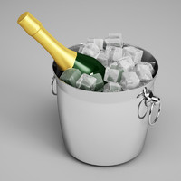 3d model champagne bottle ice bucket