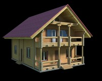 3d model log wooden house