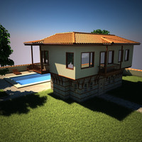 3d model scene house roof swimming pool