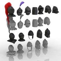 3d medieval helmets model