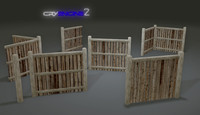 free pack fences plank modular 3d model