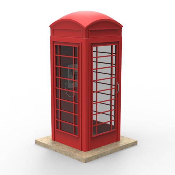 3d phone booth model - Phone Booth... by 4D_brain