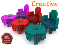 creative design chair table 3d model