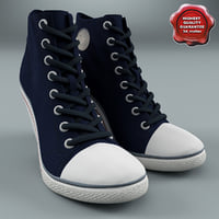 Ash Spot Canvas High Heeled Trainers