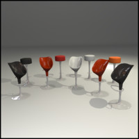 set chairs interior bar 3d 3ds