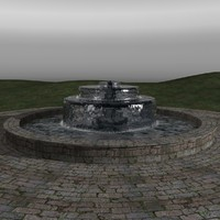 3d model of realistic water fountain animation