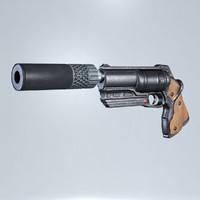 revolver handgun 3d obj