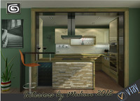 3d model contemporary kitchen scene