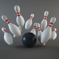 3d model bowling ball pins