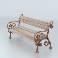 3d model bench decorated