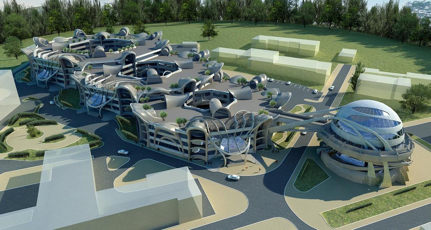 3d architecture buildings futuristic  plex