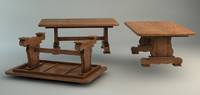oak table 3d model