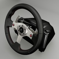 3d model logitech racing wheel steering