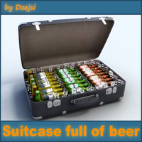 obj suitcase beer bottles