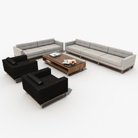 sofa furniture set leather chair 3d 3ds